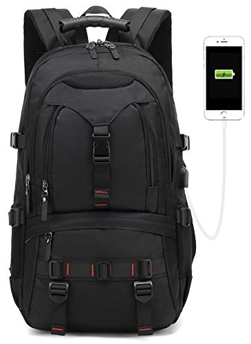 2019 New Model 17-inch Travel laptop backpack, USB school Computer bag for college students, Oxford waterproof travel bag functional birthday gift for men and women Notebook business anti theft(black) (Best Backpack For Travel 2019)