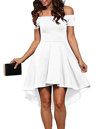 Sarin Mathews Women Off The Shoulder Short Sleeve High Low Cocktail Skater Dress White S