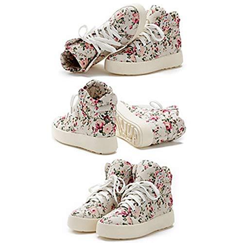 White Comoda CN36 Poliuretano Quadrato EU36 Maglia Scarpe Sneakers UK4 Per Tronchetti Stivaletti Nero Bianco Autunno US6 Donna Traspirante PU Primavera TTSHOES YqAzRanxff