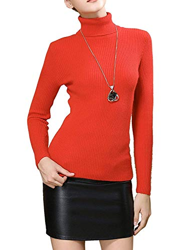 (Easier Women's Cashmere/Lyocell Stretchy Turtleneck Long Sleeve Knit Pullover Sweater,Bright Orange)