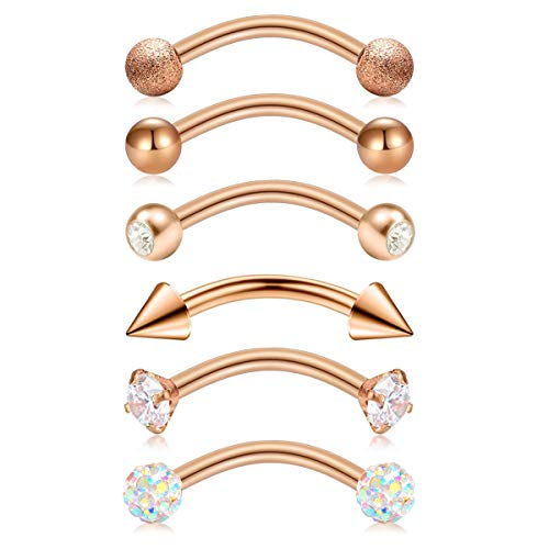 Briana Williams 6pcs Stainless Steel Rose Gold Rook Daith Earrings Belly Lip Ring Eyebrow Studs Cartilage Tragus Cubic Zirconia Barbell Body Piercing 8mm (5/16