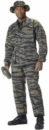Camouflage Military BDU Pants, Army Cargo Fatigues (Tiger Stripe Camouflage, Size Medium)