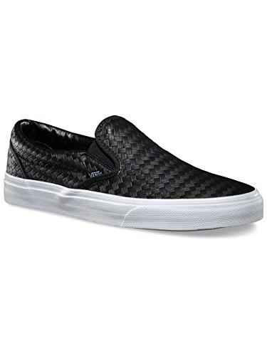 Vans Classic Slip On Unisex Embossed Leather Black/White 3.5uk