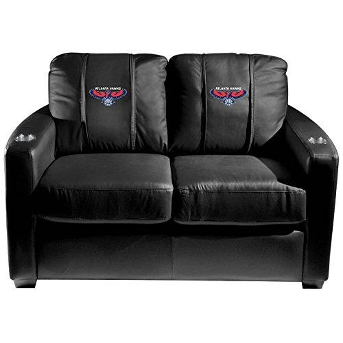 XZipit NBA Silver Loveseat with Atlanta Hawks Logo Panel, Black