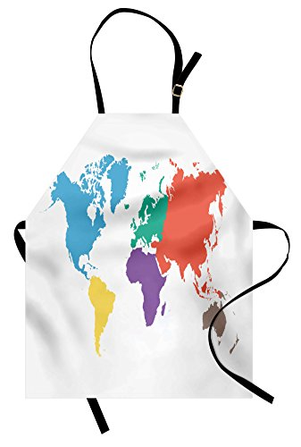Ambesonne Map Apron, Continents of The World in Regions Lands Global International Theme, Unisex Kitchen Bib Apron with Adjustable Neck for Cooking Baking Gardening, Multicolor