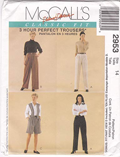 Misses' Pleated Front Fly Slanted Pockets Normal Waist Pants, Shorts, Fitting Shell McCall's Sewing Pattern 2953 Size 14 Waist 28 -