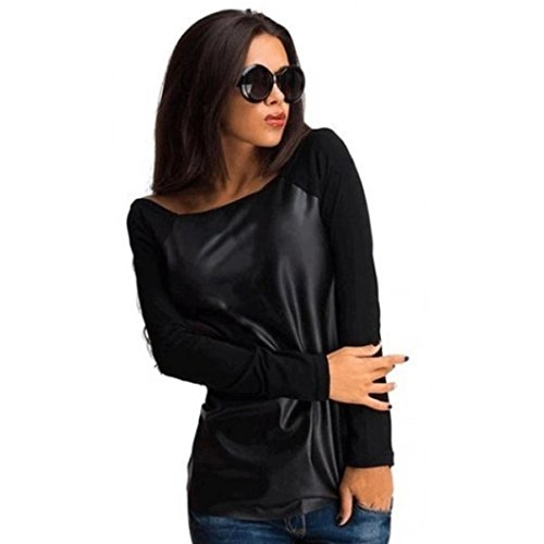 Lisingtool Women Long Sleeve Leather Splice Tops Shirt Blouse (XL, Black)