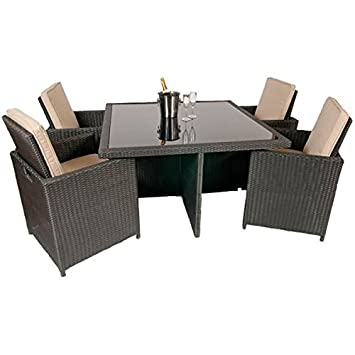 Rattan Garden Furniture Outdoor Patio  Piece Cube Set With Glass