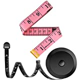 2 Pack Tape Measure Measuring Tape for Body Fabric Sewing Tailor Cloth Knitting Craft Measurements, 60-Inch Soft Fashion Pink & Retractable Black Tape Measure Body Measuring Tape Set, Dual Sided