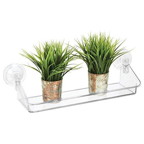 mDesign Plastic Suction Decorative Home Storage Organizer Shelf - Hanging Mirror/Window Basket -