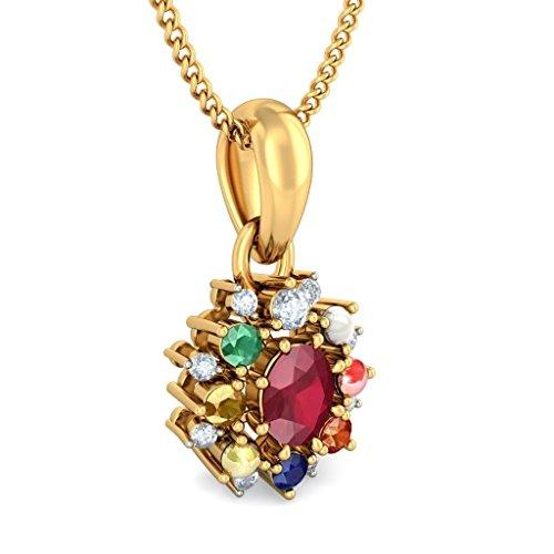 14K Or jaune 0.11CT TW Round-cut-diamond (IJ | SI) et rubis et Navaratna Pendentif