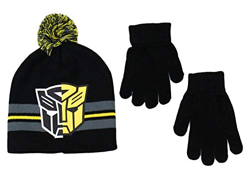 KIDS COMIC SUPERHERO LICENSED BEANIE BOYS WINTER HAT & GLOVE SETS (Transformers -