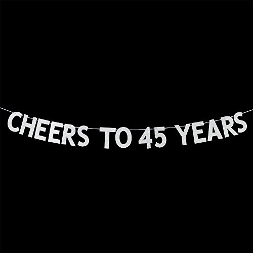 Cheers to 45 Years Banner - Happy 45th Birthday Party Bunting Sign - 45th Wedding Anniversary Decorations Supplies - Silver