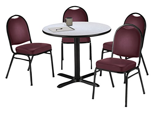 - KFI Seating Round Laminate Top Pedestal Table with 4 Burgundy Vinyl Armless Stack Chairs, 36