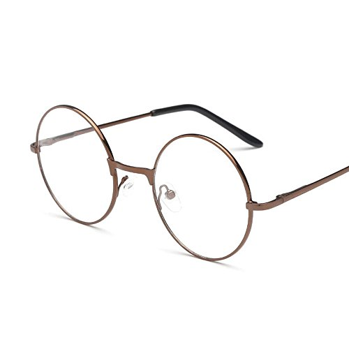 Fdrirect Men Large Oversized Metal Frame Clear Lens Round Circle Eye Glasses Nerd - Round Eyeglasses Perfectly