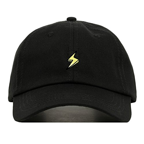 Lightning Bolt Dad Hat, Embroidered Baseball Cap, 100% Cotton, Unstructured Low Profile, Adjustable Strap Back, 6 Panel, One Size Fits Most (Multiple Colors) (Black)