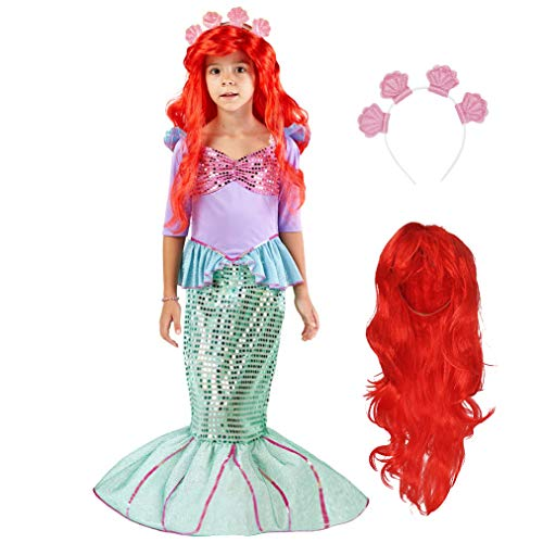 Custom Mermaid Costume (Spooktacular Creations Deluxe Mermaid Costume Set with Red Wig and Headband (Medium)