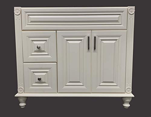 Antique White Solid Wood Single Bathroom Vanity Base Cabinet 36