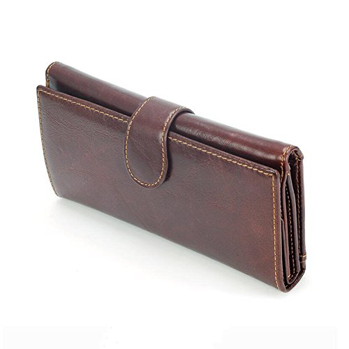 Multifunction WALLETS Dark Long Capacity Men Fold High Card Section Honey Package Brown Wallet RnwO1qaa