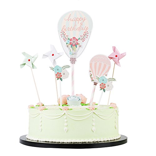 Air Romantic Balloon Hot (LXZS-BH LVEUD Romantic party, hot air balloon, windmill and flowers happy birthday cake topper for Birthday Party Supplies of set 7)
