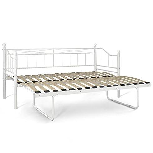 Metallbett Aufklappbar 90x200 Bett Kinderzimmer Jugendzimmer Doppelbett  Oder Einzelbett (weiß)