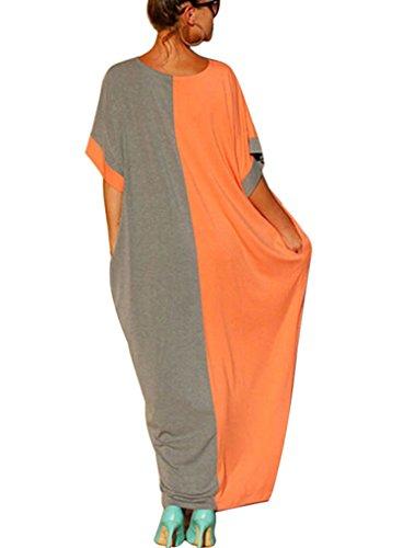 Orange Block Long Dress - 7