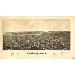 1886 Amherst Massachusetts, Bird's Eye Map Amherst, Mass. 1886. Burleigh Lith. E