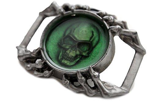 TFJ Men 3D Fashion Strong Belt Buckle Dark Silver Heavy Metal Skull Eagle Claws Green