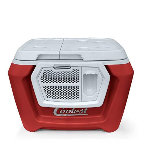 Coolest Cooler Premium Insulated Outdoor Ice Chest Cooler with Wheels, Handle, Bluetooth Speaker (55 Qt, Essential Model, Red) Perfect for The Beach, Camping & Parties