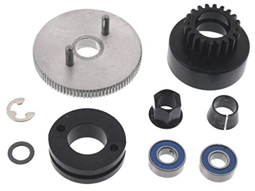 (TRAXXAS CLUTCHBELL 5217, THIS CLUTCH BELL FITS ALL TRAXXAS 1/10 CARS AND TRUCKS, COMES WITH FLYWHEEL, CLUTCH SHOES, SPRING,SPLIT BEVELED CONE, FLYWHEEL NUT AND BEARINGS 4146X,4142,3281,5244,5116)