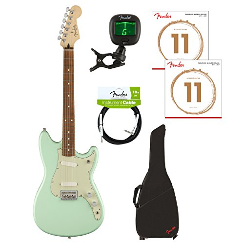 Fender Limited Edition Electric Guitar w/ Gig Bag, Cable, Tuner & 2-pack of Strings (Duo Sonic Surf Green)