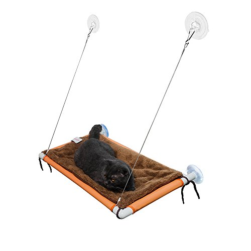 FURRY BUDDY Cat Window Perch with Removable Plush Mat and Big Suction Cups, Holds up to 60lbs for Bigger or Multiple Cats, Food Grade Placemat Mesh Cover