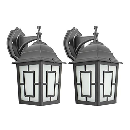 IN HOME One-Light Outdoor Wall Down Lantern, Exterior Light Fixtures with One E26 Base, Wet Rated, Black Matte Finish Cast Aluminum Housing with Frosted Glass Shade, ETL Listed, Twin Pack ()