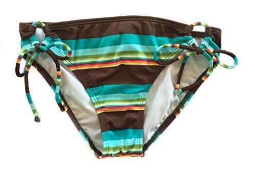 Roxy Striped 70s Lowrider Tie Side Brown Blue Womens Swim Suit Bottom Small Brown