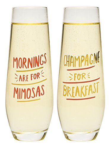 About Face Stemless Champagne Flutes Mornings are for Mimosas and Champage for Breakfast (Champagne Gifts)