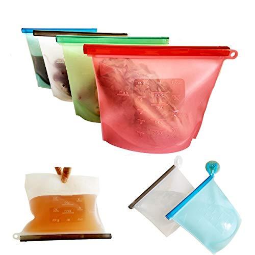 Reusable Silicone Food Storage Bag Fresh Food Storage Bag for Fruits Vegetables Meat set of 4