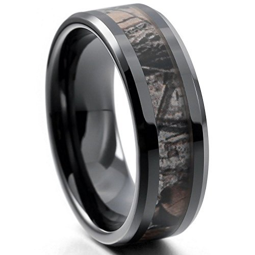 EOVE Jewelry 8MM Camouflage Hunting Mens Black Tungsten Ring Camo Step Edge Polished Wedding Band - Men Tungsten Step Edges