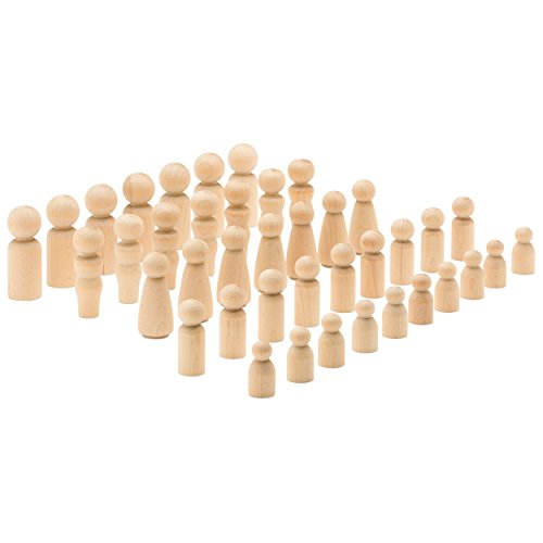 Woodpeckers Decorative Wooden Doll People - Assorted Sizes - Set of 40 Includes 5 Shapes: Ebook: We Include a Ebook with Cool Crafting Ideas. by Woodpeckers