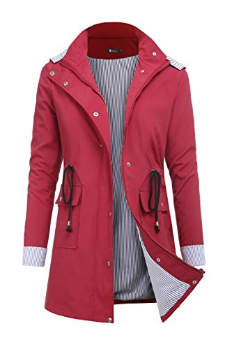 RAGEMALL Women's Raincoats Windbreaker Rain Jacket Waterproof Lightweight Outdoor Hooded Trench Coats Dark red s