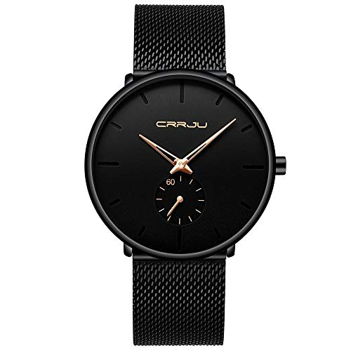 Men's Watch Unisex Minimalist Watch Waterproof Watch Classic Gift Mesh with Gold Pointer