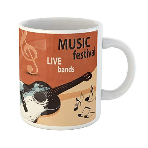 Emvency Funny Coffee Mug Live Music with Retro Guitar Rock Festival Band 50S 60S 70S 1950S 1960S 1970S 11 Oz Ceramic Coffee Mug Tea Cup Best Gift Or Souvenir
