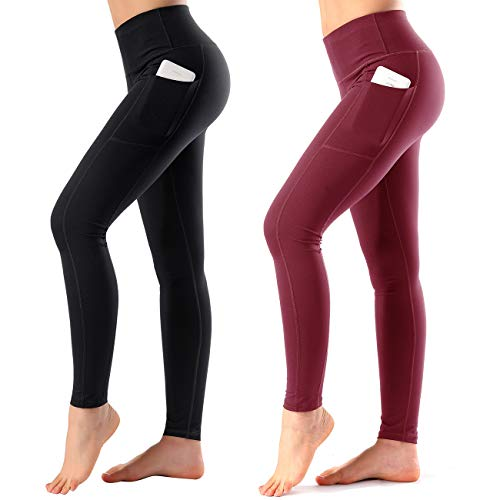 Women's High Waist Yoga Pants Side & Inner Pockets Tummy Control Workout Running 4 Way Stretch Sports Leggings ()