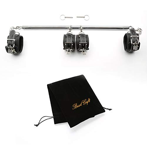 Gentlesoft Expandable Metal Spreader Bar with 4 PU Leather Adjustable Straps Set, Silver and Black -