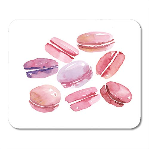 Simple Macaroon (Emvency Mouse Pads Blue Macaroon French Sweets Pink Color Vanilla Assorted Macarons Watercolor Brown Cute Mouse pad Mats 9.5