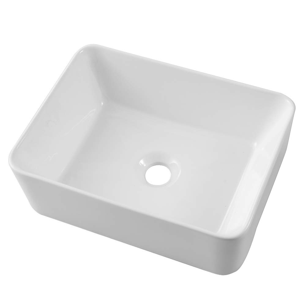 Lordear 16''x12'' Modern Bathroom Rectangle Above White Porcelain Ceramic Vessel Vanity Sink Art Basin