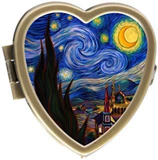 Case 2 Tone Hearts - VINCENT VAN GOGH Custom Fashion Bronze Tone Heart Pill Box Medicine Tablet Holder Wallet Organizer Case for Pocket or Purse