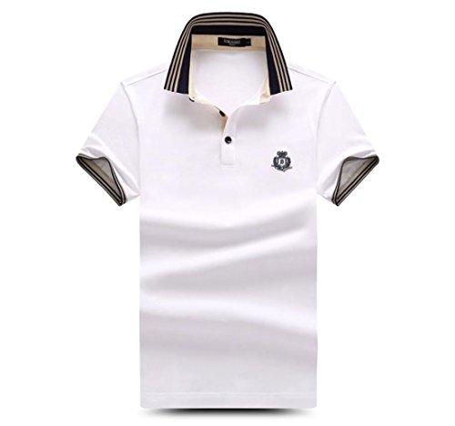 メンズ ポロシャツ 半袖 Tシャツカジュアル 紳士ポーツゴルフ シャツ ゆったり リラックス 着やすい すぐ着れる らく 気持ち良い (ホワイト, M)