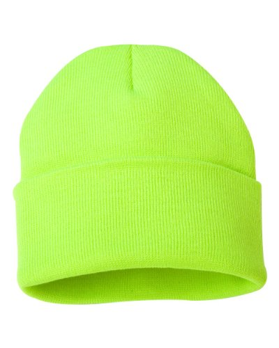 Joe's USA tm - 12 inch Solid Knit Beanie Hat Cap -Safety Yellow