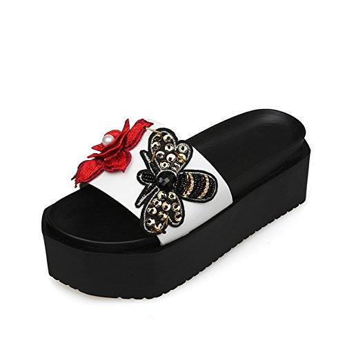 ZCJB Zapatillas de suela gruesa Mujer Verano exterior Use zapatos de tacón alto Moda sandalias de punta abierta ( Color : Blanco , Tamaño : EU39/UK5.5/L:24cm )