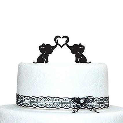 Amazon baby elephants silhouette wedding cake topper with heart baby elephants silhouette wedding cake topper with heart junglespirit Choice Image